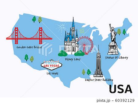 World travel map attraction tourist symbols sightseeing illustration 007 60392129