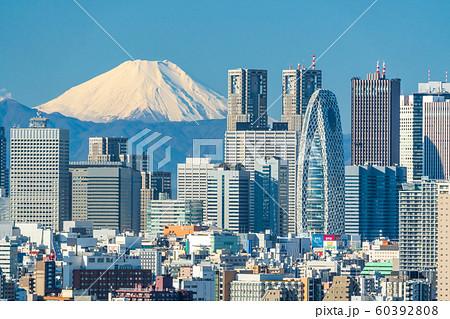 富士山と新宿のビル群 東京都文京区 60392808
