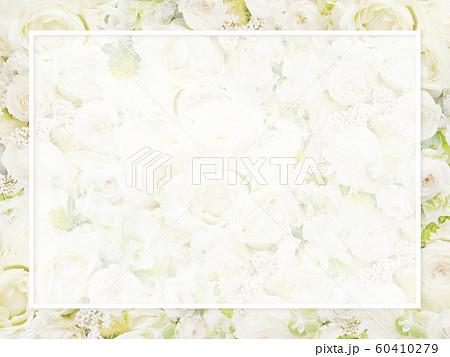 背景-バラ-白-フレーム 60410279
