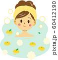 ゆず湯に浸かる女性 60412190