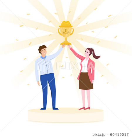 Team celebrating success concept, male and female holding a golden cup together. 60419017