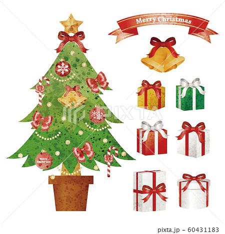 クリスマス クリスマスツリー プレゼント セット アナログ 水彩タッチ 60431183