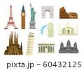 世界の有名な建築物(遺跡・建物・世界遺産・ランドマーク)カラーイラストセット 60432125