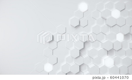 White geometric hexagonal abstract background. Surface polygon pattern with glowing hexagons, honeycomb. Abstract white self-luminous hexagons. Futuristic abstract background 3D Illustration 60441070