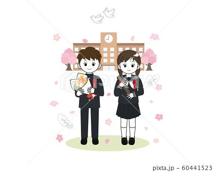 卒業生 学ラン 桜 60441523