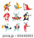 Cute animals playing various music instruments at zoo concert set 60446893