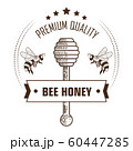 Bee honey premium quality packaging label with wooden dipper 60447285