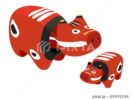 赤べこ。牛のおもちゃのイラスト。 日本の置物。会津のお土産。 60450294