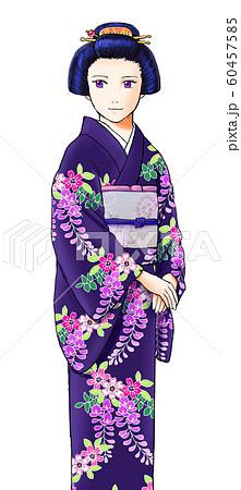 藤柄の着物を着た女性 60457585
