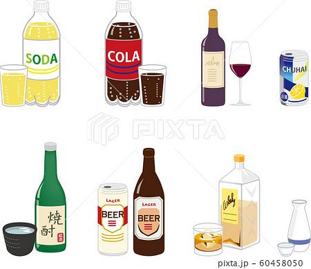 いろんな種類の飲み物,炭酸水、お酒 60458050