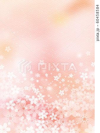 桜_和柄_淡いピンク背景_縦型 60458584
