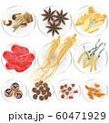 皿に載せた漢方生薬 60471929