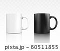 Classic ceramic tea mug set - white and black realistic mugs 60511855