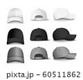 Set of realistic black, white and gray baseball cap or hat. 60511862