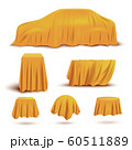 Set of objects and gifts covered with realistic yellow covers for curtains. 60511889