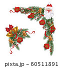 Set of Christmas winter wreaths or borders flat vector illustration isolated. 60511891