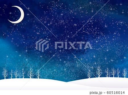 冬の景色:水彩 冬 景色 木 木々 雪 丘 雪山 林 森 星 夜空 キラキラ 月 60516014