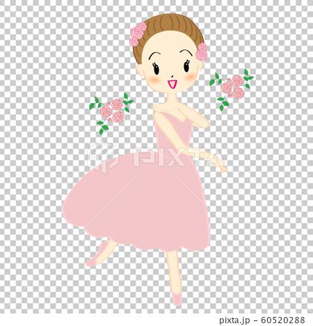 一個女孩跳舞芭蕾舞的插圖 60520288