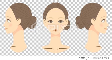 女性面部正面和側面 60523794