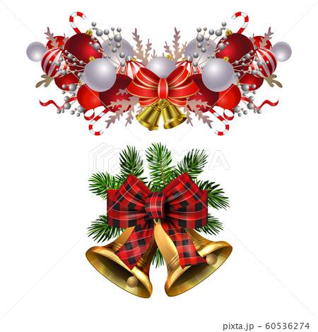 Christmas decorations with fir tree golden jingle bells 60536274