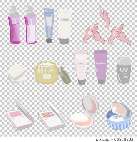 基礎化粧、ベースメイクのイラストセット(化粧水、乳液、メイク落とし、リキッド、パウダー、コンパクト) 60538232