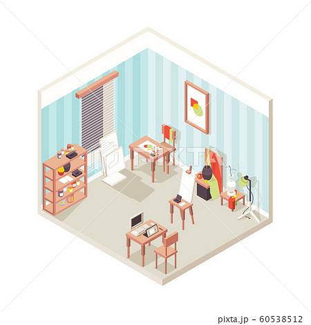 Artist studio interior. Painting place exhibition school for drawing designers inspirational studio vector isometric 60538512