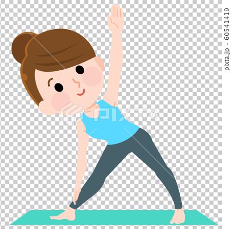 瑜伽三角姿勢女插畫 60541419