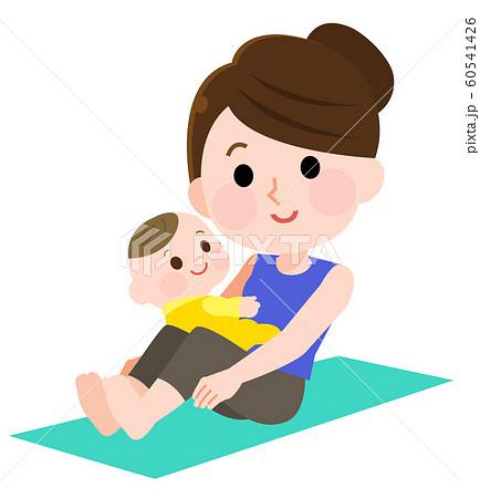 ベビーヨガ 赤ちゃんとお母さん イラストマタニティヨガ 60541426