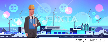 male engineer controlling wind turbine solar panel alternative energy source 5G online wireless system connection factory building industrial plant power station concept flat horizontal portrait 60546405