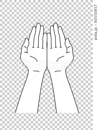 Hands of women scooping with both hands 60550857