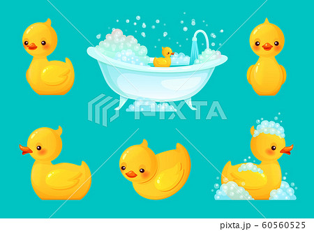 Yellow bath duck. Bathroom tub with foam, relaxing bathing and spa rubber ducks cartoon vector illustration 60560525