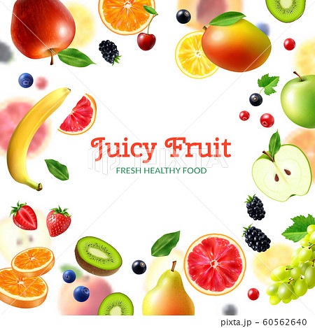 Realistic Fruits And Berries Background 60562640