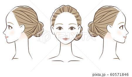 女性の顔  正面と横顔  線画 60571846