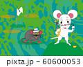 ネズミとゴルフのスポーツファンのための子年の年賀状素材 60600053