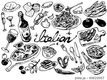 イラスト素材: :シンプル 手描き イタリアンセット ライン画 60620007