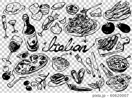 圖庫插圖:簡單的手繪意大利語集線圖 60620007