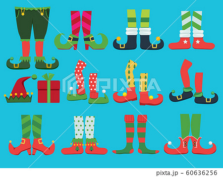 Xmas shoes. Fairytale elf boots and leggings santa boy legs and shoe vector christmas collection 60636256