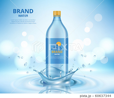 Water advertizing. Clean transparent bottle standing in liquid splashes and drops of water vector realistic placard 60637344