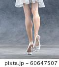 ガラスの靴を履いた美脚の女性 perming3DCG イラスト素材 60647507