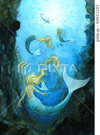 人魚姫の姉たちのイラスト素材