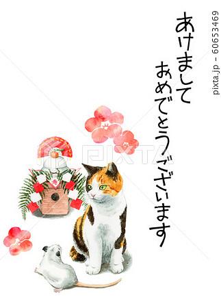 水彩で描いた三毛猫とねずみと鏡餅のイラストの年賀状 60653469