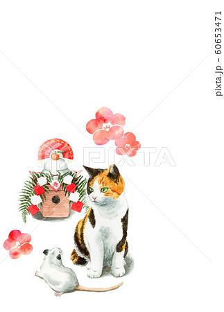 水彩で描いた三毛猫とねずみと鏡餅のイラストの年賀状 60653471