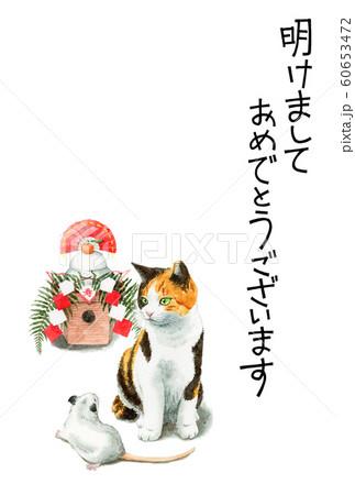 水彩で描いた三毛猫とねずみと鏡餅のイラストの年賀状 60653472