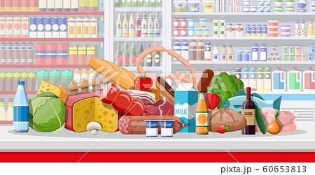 Supermarket store interior with goods. 60653813