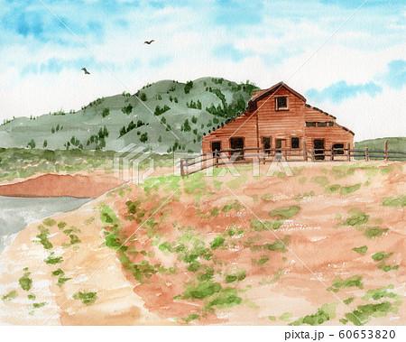水彩で描いたカナダ・オカナガンの風景画 60653820