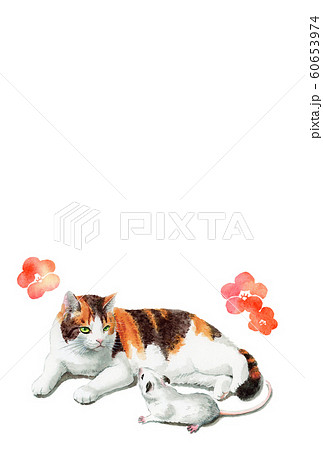 水彩で描いた三毛猫とねずみのイラストの年賀状 60653974