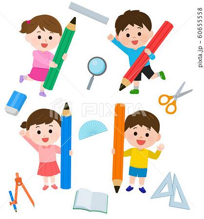 子供 小学生 文房具 学習 イラスト 60655558