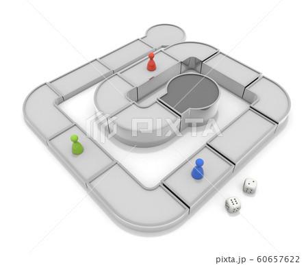 ボードゲームで遊ぶ。他人との競争。3Dイラスト 60657622