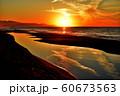 夕日 日本海 新潟県 60673563