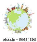 世界の有名な建築物(遺跡・建物・世界遺産)カラー円形バナー  / 海外旅行 (地球・雲なし) 60684898